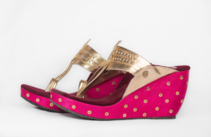 02df43d4c0a2 BABY PINK AND WOOD KOLHAPURI WEDGES – The Shoe Tales